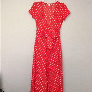 Dresses & Skirts - Low Cut Red White Polka Dot Maxi Dress Medium